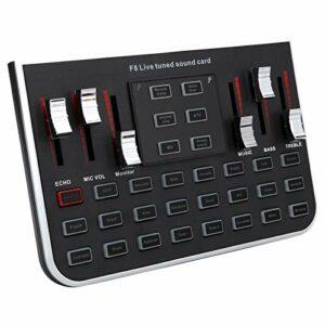 Carte son noire F8, mélangeur audio à changement de voix (effet sonore multiple), avec 4 diacritiques, 5 modes, 23 effets spéciaux, 12 types de sons électroniques.