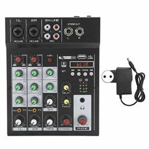 Console audio portable à 4 canaux, console de mixage BT Mixeur audio numérique Effet de réverbération intégré, convient pour le karaoké domestique, la diffusion Web, etc.(UE)