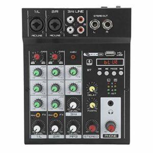 Console de mixage numérique portable Bluetooth Audio Mixer 4 canaux avec sortie RCA/TRS / 3,5 mm, pour karaoké domestique, webcast, enregistrement de musique, etc. (UE)