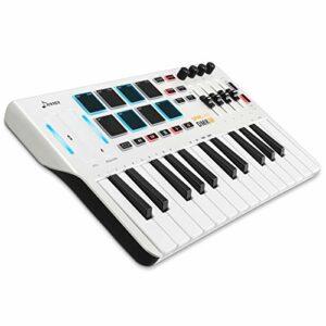 Contrôleur de clavier MIDI DMK25, Donner Professional Synthétiseur 25 touches Mini USB Beat Pad avec 8 pads de batterie rétroéclairés 4 boutons 4 curseurs de contrôle, Blanc