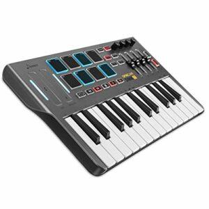 Contrôleur de clavier MIDI DMK25, Donner Professional Synthétiseur 25 touches Mini USB Beat Pad avec 8 pads de batterie rétroéclairés 4 boutons 4 curseurs de contrôle, Noir