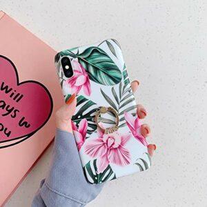 Coque iPhone X/XS Coque avec Support Bague Fleur Feuilles Motif Souple Coque Silicone Gel TPU Case Cover Housse Étui de Protection Ultra Mince Anti-Rayures Bumper Case pour iPhone X/XS, B