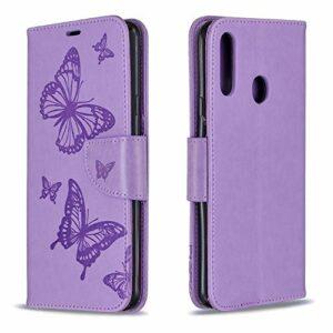 Coque pour Galaxy A20S Antichoc étui Rabat Cuir Case Portefeuille TPU Gel Bumper Silicone Wallet Cover Aimant Housse pour Samsung Galaxy A20S – ZIBF080164 Violet