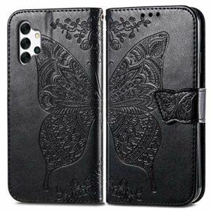 Coque pour Galaxy A32 5G Coque,Housse en Cuir Flip Case Portefeuille Etui avec Stand Support et Carte Slot pour Samsung Galaxy A32 5G – EYSD022242 Noir