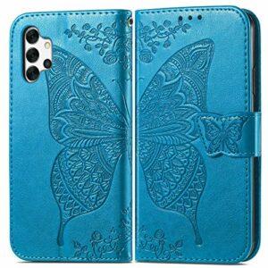 Coque pour Galaxy A32 5G Protection Housse en Cuir PU Pochette,[Emplacements Cartes],[Fonction Support],[Languette Magnétique] pour Samsung Galaxy A32 5G – DESD022243 Bleu