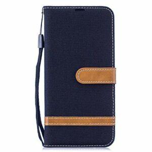 Coque pour Samsung Galaxy S30 Plus – Motif denim – Résistante aux chocs – En cuir synthétique – Fermeture magnétique – Coque en polyuréthane thermoplastique souple avec support et porte-cartes – Noir