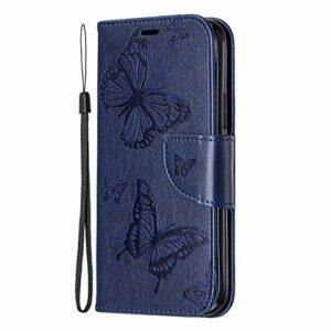 Coque Samsung Galaxy S30 Plus pour femme 3D Papillon en relief résistant aux chocs en cuir PU à rabat avec fermeture magnétique et emplacements pour cartes Bleu