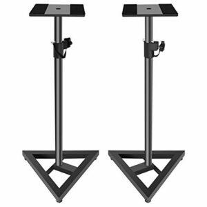 Doubleblack Pied Haut Parleur Metal Support Enceinte Monitoring Home Cinema Hauteur Reglable 76-137 cm 2 Pièces Noir