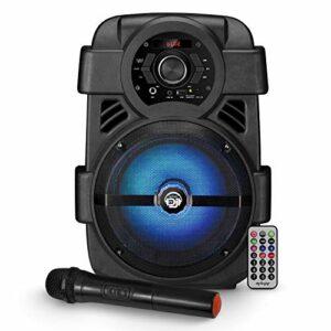 Enceinte autonome sur batterie MyDj SONIC08 à LED – 400W – USB/BT/AUX – Télécommande + Micro sans fil