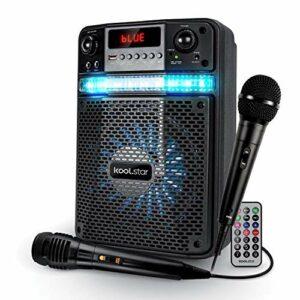 Enceinte Karaoké PARTY 400W Batterie Koolstar AVEC 2 MICROPHONES – BROZY08 à LED + APPLICATION SMARTPHONE USB/Bluetooth/RADIO FM
