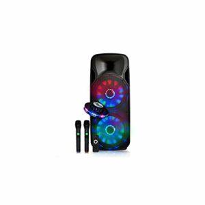 Enceinte mobile sur batterie Party BOXER215-LED 2 x 15″/38cm 1000W à LEDs + 2 MIC sans fil – USB/BT/SD/ + effet OVNI