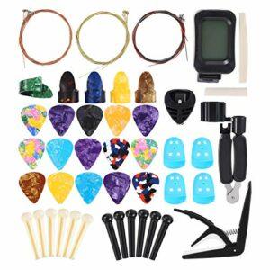 EXCEART 60Pcs Kit D'accessoires de Guitare Broches de Pont de Guitare Piquets de Doigt de Guitare Choix de Doigt de Selle Écrou de Pont Extracteur de Broche Dissolvant Support de Choix de