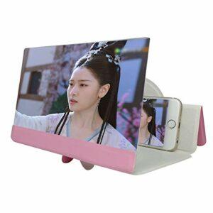 Gali Loupe D'écran De Téléphone, 5D HD écran De Film Grossissant étui en Cuir Amplificateur Vidéo Amplificateur D'écran De Support De Téléphone Pliable pour Tous Les Smartphones(Color:Rose)