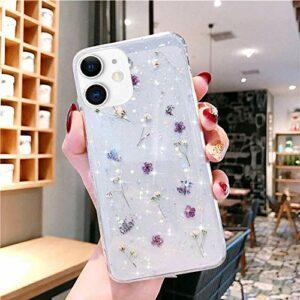 Herbests Compatible avec iPhone 12 / iPhone 12 Pro Coque de protection en silicone souple ultra fine avec fleurs séchées brillantes et paillettes Violet
