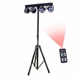 Ibiza 15-1188 DJLIGHT80LED Pack support de lumière + 4 projecteurs PAR