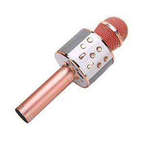JIE KTV Microphone de Poche Karaoké sans Fil Lecteur USB Haut-Parleur Micro Portable Or Rose