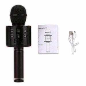 JIE KTV Microphone de Poche Karaoké sans Fil Lecteur USB Micro Haut-Parleur Portable Noir