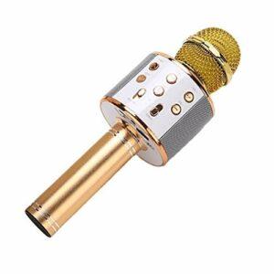 JIE KTV Microphone de Poche Karaoké sans Fil Lecteur USB Micro Haut-Parleur Portable Or