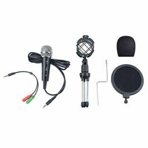 kdjsic Mini Microphone à condensateur Ensemble de Diffusion en Direct de téléphone Portable Microphone Jack 3,5 mm pour la Diffusion d'enregistrement par Ordinateur