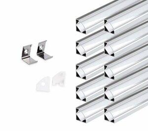 KingLed 10 Pack Profilés Angulaires en Aluminium Anodisé LED de 1M chacun; Modèle 007 pour Bandes à LED avec Couverture Transparent en Plexiglas. Capuchons et Clips de fixation. Code 0751