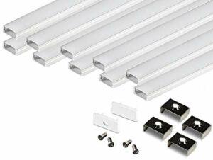KingLed – 10 Pack Profilés en Aluminium Anodisé LED de 2M chacun; Modèle CC-32 pour Bandes à LED avec Couverture Opaque en Plexiglas. Capuchons et Clips de fixation.