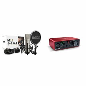 Kit Rode NT1-A Complete Vocal Recording – 1″ Cardioid Condenser Microphone + SM6 Shock Mount with Detachable Pop Filter & Focusrite Scarlett Solo 3rd Gen Audio Interface