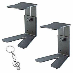 K&M 26772 Lot de 2 trépieds de table pour moniteurs de studio et haut-parleurs + porte-clés Keepdrum