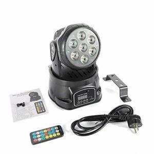 Lampe de scène LED Moving Head avec 7 × 10 W RGBW 4 en 1, éclairage de phare avec télécommande, éclairage de fête pour la plage, DJ, fête, show bar