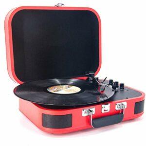 Lecteur Vinyles avec 2 Haut-parleurs Stéréo, sans Fil Platine Vinyle Phonographe avec 3 Vitesses D'entraînement par Courroie Convient for 7/10/12 Pouces Enregistrement (Color : Red)