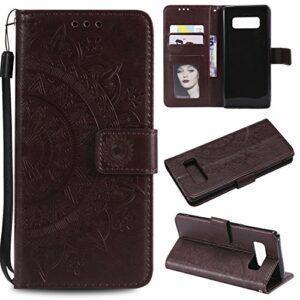 LODROC Coque Galaxy Note 8 Coque,Housse en Cuir Premium Flip Case Portefeuille Etui avec Stand Support et Carte Slot pour Samsung Galaxy Note8 – LOHH0500584 Marron
