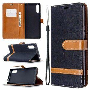 LODROC Coque Sony Xperia L4 Coque,Housse en Cuir Premium Flip Case Portefeuille Etui avec Stand Support et Carte Slot pour Sony Xperia L4 – LOBFE0301062 Noir