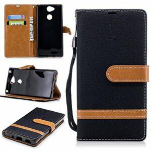 LODROC Coque Sony Xperia XA2 Coque,Housse en Cuir Premium Flip Case Portefeuille Etui avec Stand Support et Carte Slot pour Sony Xperia XA2 – LOBFE0301072 Noir