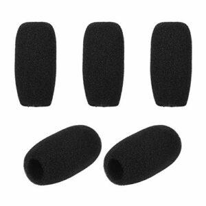Loski Couvercles en mousse pour micro pare-brise micro pour cravate casque micro-cravate cravate noir, paquet de 5pcs couvre-mousse de microphone