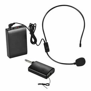 Loski Micro FM portable Système de casque Microphone Amplificateur vocal 1/4in Prise de sortie avec récepteur émetteur Bodypack pour professeur Enseignant Instructeur de yoga Présentateur C