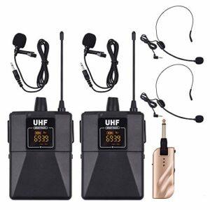 Loski Microphones sans fil à double fréquence UHF, ensemble comprenant 1 émetteur récepteur 2, un micro-casque Lavalier Mic 2 et un micro-casque pour l'enseignement de performances de réuni