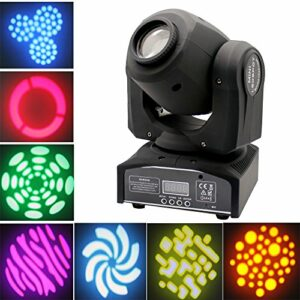 Lyre Led, UKing 30W DMX-512 Lyre Beam 8 Gobos 8 couleurs Projecteur LED à Tête Mobile 9/11 canaux Vocale Commande pour Club Bar KTV Disco Show (Noir)