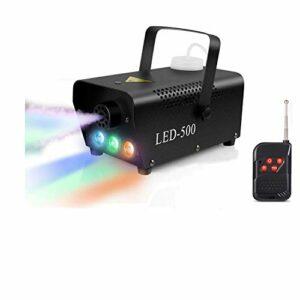 Machine à fumée LED RVB, lumière de scène, 500 W, noir, machine à fumée portable, télécommande sans fil, meilleure machine à fumée pour DJ, discothèque, Halloween, festival, mariage, effet scène, fête