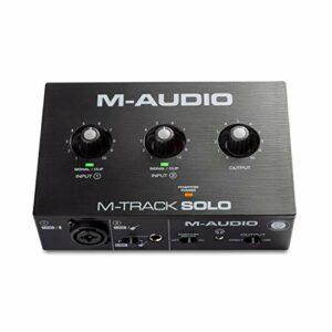 M-Audio M-Track Solo – Interface audio USB pour enregistrement, streaming, podcast avec entrées XLR, ligne et DI, ainsi qu'un pack de logiciels