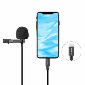 Micro cravate Lightning, Saramonic LavMicro U1A Micro cravate universel avec adaptateur de prise Lightning détachable Compatible avec iPhone 11 10 X 8 7 MAC iPad YouTube Video YouTube Facebook Live