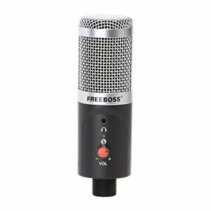 Microphone de condenseur d'ordinateur USB FB-W03 192KHZ Fréquence de l'échantillonnage 16 bits Capsule en forme de coeur Capsule à faible bruit Enregistrement de chat microphone ( Couleur : Silver )