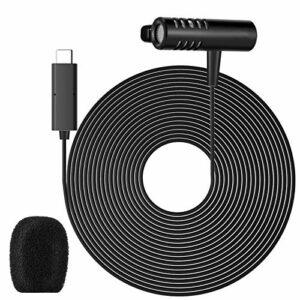 Microphone Lavalier Universel avec Cordon de 9,8 Pieds, Microphone Omnidirectionnel à Clip pour Appareils Photo de Poche Téléphones de Type C