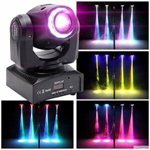 MORFIT Moving Head DMX-512 Éclairage de scène 10/12 canaux 50 W LED Son activé Projecteur RGBW Gobos pour DJ Disco Party Lights