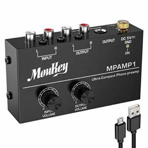 Moukey Préamplificateur Phono pour Platine, Entrée et Sortie RCA Stereo