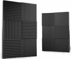 Mousse Acoustique Mousse Anti Bruit, 12 Pack Mousse Acoustic pour Podcasting, Studios d'enregistrement, Bureaux, Apprentissage à Domicile,Panneaux Insonorisants(30 X 30 X 2.5 cm)