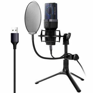 NCONCO Microphone à condensateur USB avec trépied et filtre pour chanter, podcasting, enregistrement vocal