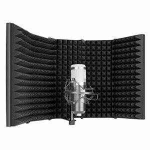 Neewer Pro Bouclier d'Isolement pour Microphone, 5 Panneaux Filtre Anti-pop, Mousse Absorbante Avant et Plaque Arrière en Métal, pour Blue Yeti et Tout Équipement d'Enregistrement de Microphone