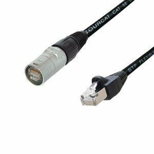 Neutrik Câble blindé Flexible CAT5e Van Damme, Neutrik Ethercon vers RJ45 données réseau (25 cm) 5 m