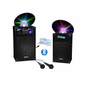 Pack Karaoké Enceinte SONO Usb Bluetooth avec jeux de lumière intégré + 2 Micros PA SONO DJ idéal fiesta anniversaire bar club disco