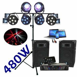 PACK SONO DJ 480W Ampli + Enceintes + Table de Mixage + Micro + Câble + 1 Portique DJ + 6 jeux de lumière à led compacts et puissants PA DJ SONO MIX LIGHT Anniversaire Noël Fiesta
