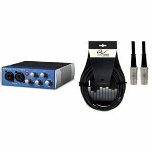 PreSonus AudioBox USB 96: 2×2 USB 2.0 Système d'enregistrement avec Studio One PC/Mac – 2 préamplis Bleu & Alpha Audio 190780 Pro Line Cordon MIDI 3 m Noir